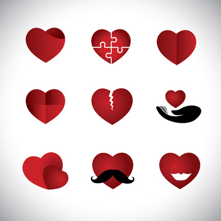 origami style heart icons collection set - concept graphic. This graphic illustration also represents love, passion, marriage, break-up, divorce, emotions, puzzle, care, support, happiness, etc Vector