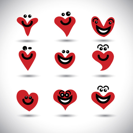 elation: happy, smiling, lively heart icons collection set - concept vector graphic. This graphic illustration also represents love, positivity, passion, merry, joy, elation, excitement, wonder, amusement
