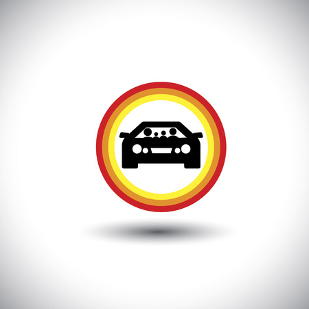 family & car icon with circles: parents and children on travel & outing - concept. Vector