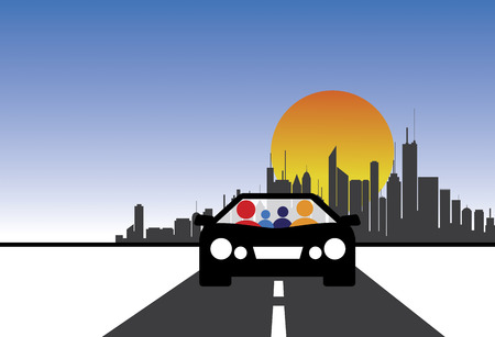 Familie, Auto-und Stadt Konzept Grafik. Die Abbildung zeigt auch die Menschen gehen auf Tour, Familienausflug, Freude Fahrt, lange Fahrt, etc.