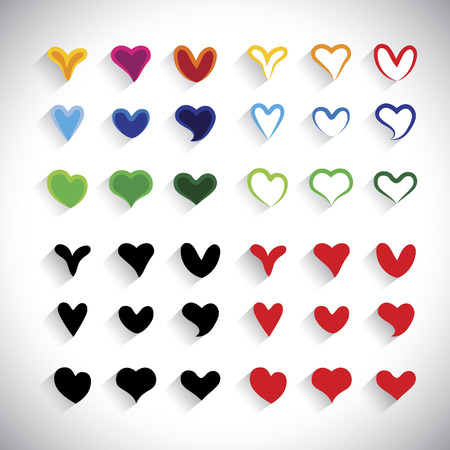 flat design colorful heart icons collection set -  graphic. This illustration also represents love, positivity, passion, libido, amour, marriage, wedding, live-in Vector