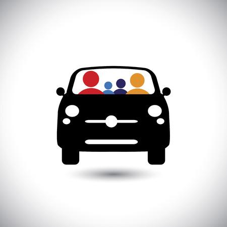 icona di famiglia e auto: padre, madre, figlio e la bambina sul viaggio e tour - concetto di vettore.