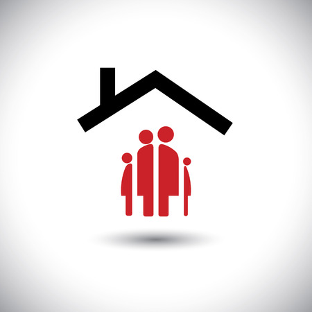 Happy family & home icon: father, mother, son and baby girl under roof of a house- concept vector.