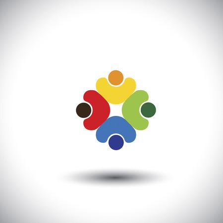 Teamwork en teamgeest - begrip vector graphic. Deze kleurrijke illustratie vertegenwoordigt ook mensen diversiteit en eenheid, vakbond, spelende kinderen, kinderen samen, vriendschap, integriteit, eenheid Stock Illustratie