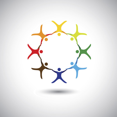 colorful people together as circle of unity, integrity - concept vector. This graphic can also represent colorful kids playing, holding hands, employees union, children active, excited people Vector