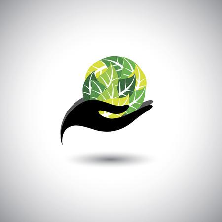 ressources naturelles: femme tenant une boule de feuilles - vecteur notion de spa. L'ic�ne graphique repr�sente �galement la protection des ressources naturelles, les produits biologiques, l'industrie de bien-�tre, de l'industrie de la beaut�