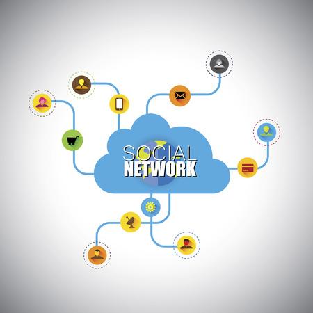interrelated: social network, social media, cloud computing - concept vector icons.