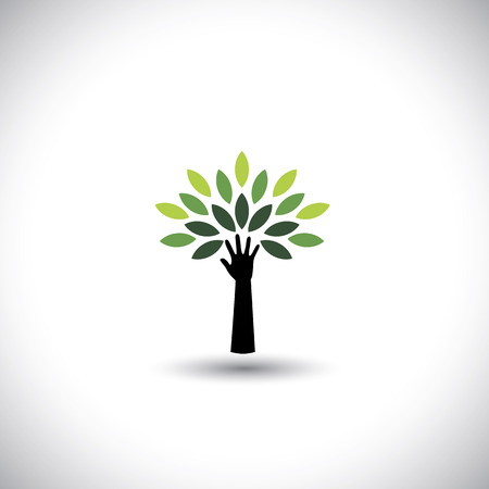 human hand & tree icon with green leaves - eco concept vector Vector