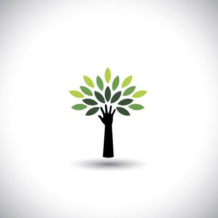 diversidad: icono de la mano y árbol humano con hojas verdes - concepto del eco del vector