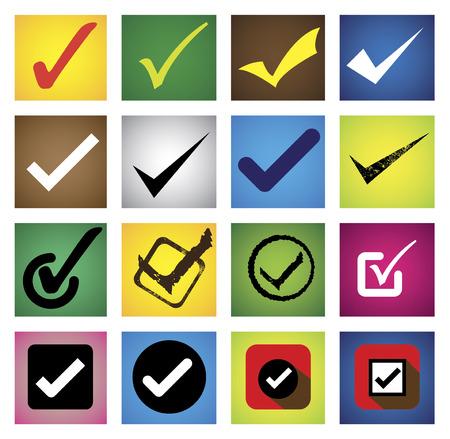 tickmark, checkmark, right mark, correct choice - icons set.  Vector