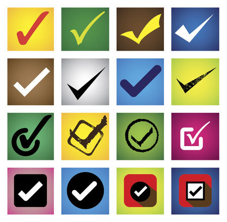 right choice: tickmark, checkmark, right mark, correct choice - icons set.  Illustration
