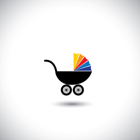pram icon with colorful top on white background Vector