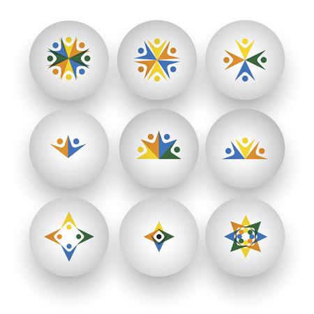 community, unity, happy people, children playing vector icons. This graphic also represents buttons with people together, employees & executives meeting, friends & friendship, kids at school Vector