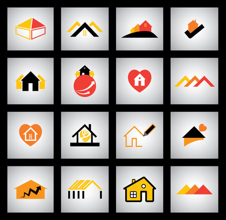 architecture pictogram: house, home and simple residential apartment icons Illustration