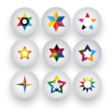 colorful star, christmas & navidad, rating, 3d badge icons Vector