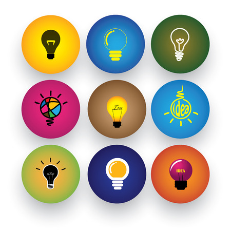 idea light bulb, brilliance, genius, smart, clever vector icons. This graphic also represents excitement, inspiration, enthusiasm, problem solving, clever solutions, smart thinking Vector