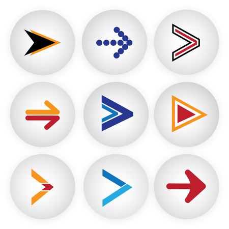 proceed: arrow sign & symbol button vector icons set. This graphic represents simple circle shape internet buttons on gray background in contemporary modern style. Also represents direction, go, proceed, etc