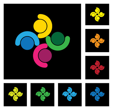 kids playing, people group & community icons set Vector
