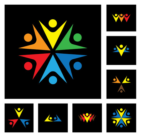 happy employees & executives unity & diversity icon set Vector