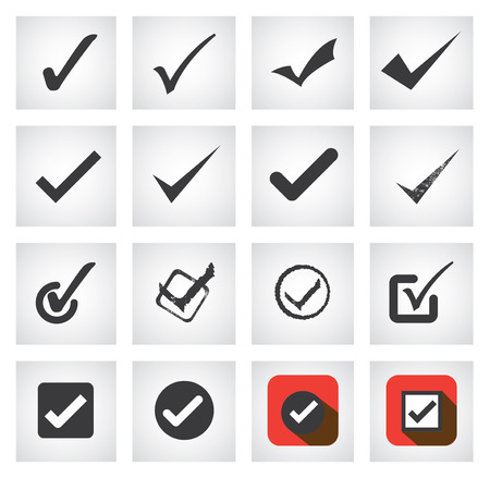 selection box: tick mark or right sign icons collection set