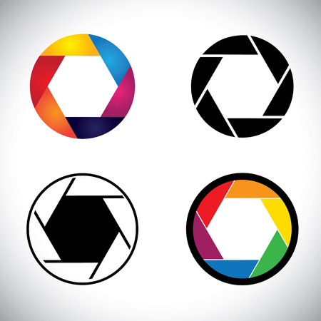 shutter aperture: Camera lens shutter aperture abstract icons - vector graphic. This illustration also represents slr camera, point & shoot camera, camera focus, etc