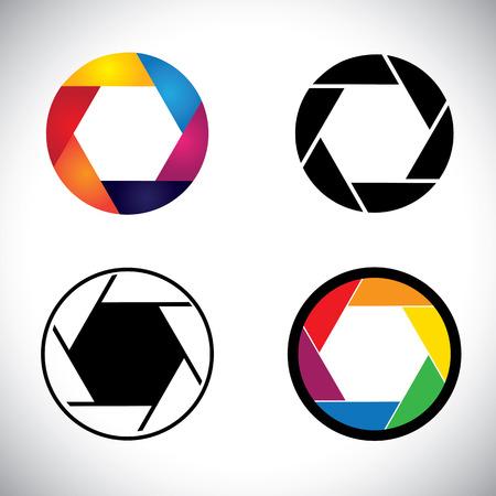 point and shoot: Lente de la c�mara de obturaci�n iconos abstractos de apertura - gr�fico. Esta ilustraci�n representa tambi�n la c�mara r�flex, punto y disparar la c�mara, el enfoque de la c�mara, etc