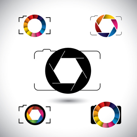 photographer: abstract slr camera concept vector icons. This graphic illustration represents camera with big lens, aperture with blades, camera shutter