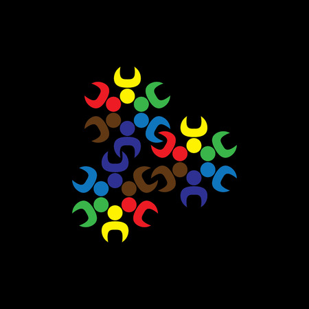 Concept graphic- abstract children or workers teams as gears.  Vector