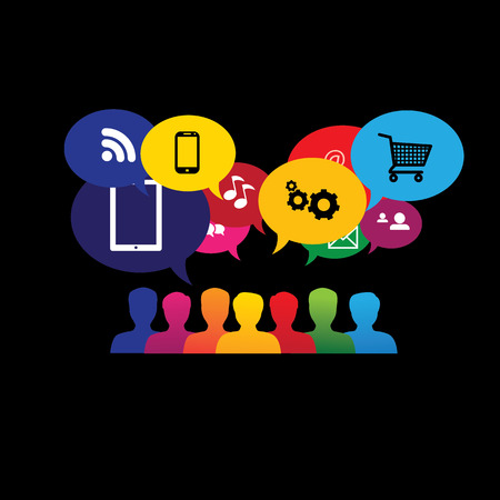 icons of consumers or users online in social media Illustration