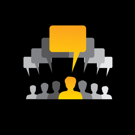 team of employees communicate, discuss & interact - concept  Vector