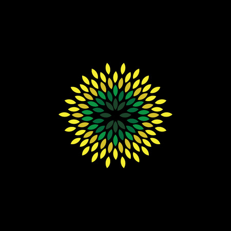 circle pattern: flower style of green leaves icons arranged as circle - eco concept