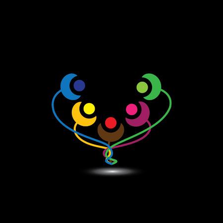 joyous: felices los miembros de la familia felices juntos como unidad - concepto Vectores