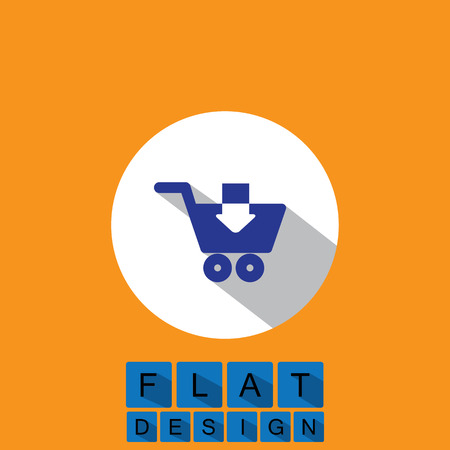 adding: flat design icon of downloading or adding to shopping cart