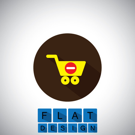 removing: flat design icon of removing items from shopping cart  Illustration