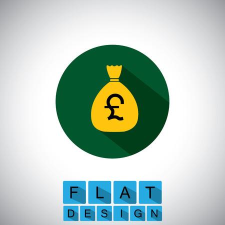 flat design icon of cash bag, saving pounds