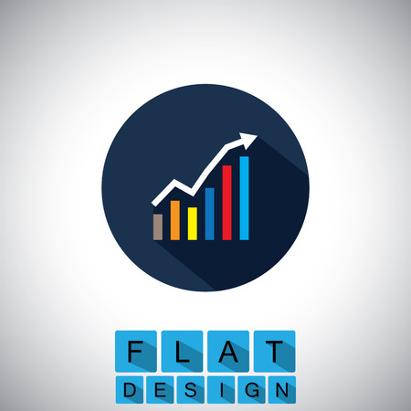 page long: flat design icon of rising graph with up arrow
