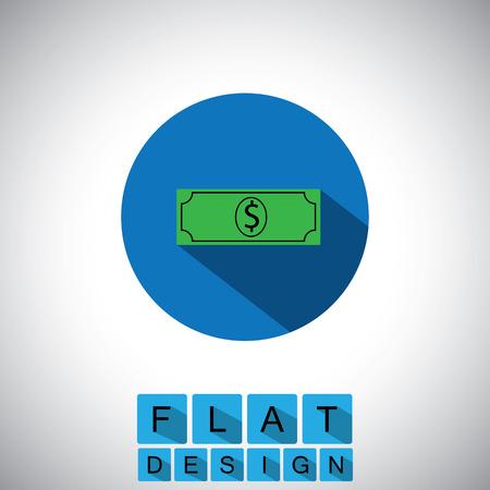 greenback: flat design icon of dollar note or greenback
