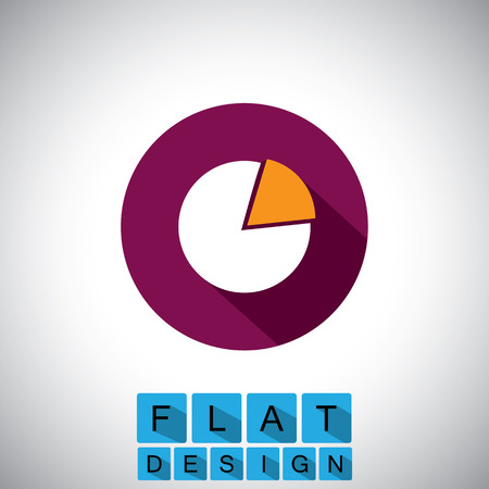 flat design icon of pie chart or graph  Vector