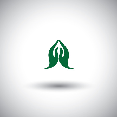 indian womans hand greeting posture of namaste  Vector