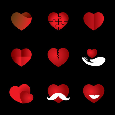 heart & love icons collection indicating romance, passion.  Vector