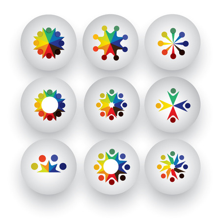 colorful people, children, employees icons collection set  Vector