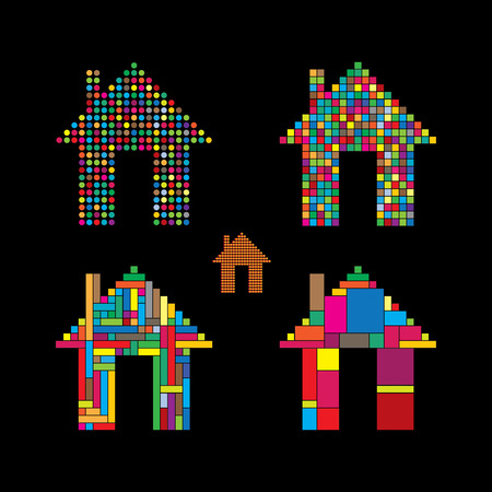 tenancy: colorful abstract house icons of dots, squares & rectangles.  Illustration