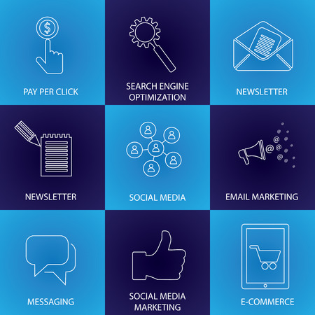 mobile marketing: marketing, social media, seo & e-commerce - concept vector icons. This graphic represents email marketing, newsletters, communication & messaging, people network, mobile marketing, online shopping