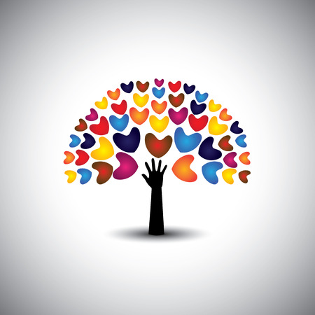 compassion: heart or love icons and hand as tree - concept vector. This graphic also represents harmony & peace, spreading love, empathy and compassion Illustration