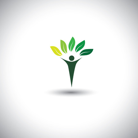 balance life: people & nature balance - eco lifestyle concept vector icon. This graphic also represents harmony, nature conservation, sustainable development, natural balance, development, healthy growth