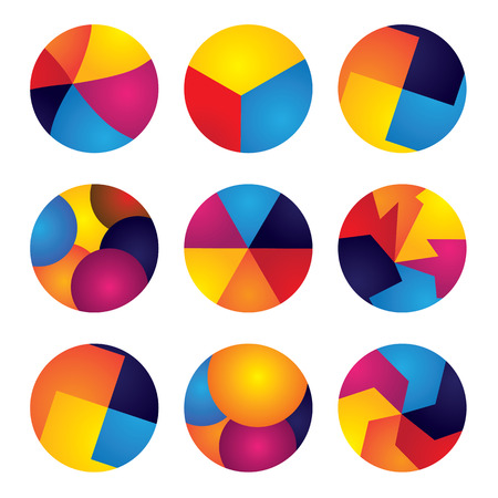 colorful abstract circles vector icons of design elements. This graphic contains orange, yellow, red, blue colors in vibrant combinations Vector