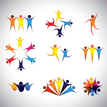 사람, 친구, 어린이 벡터 아이콘 및 디자인 요소. 이 그래픽은 또한 팀 및 팀웍, 리더 및 리더십, 성공 및 우승, 그룹 강점, 직원 및 근로자, 아이들 놀이 일러스트