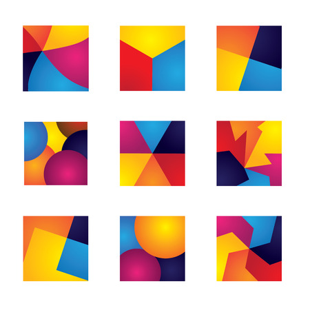 colorful squares with divisions vector icons of design elements. This graphic contains orange, yellow, red, blue colors in vibrant combinations Vector