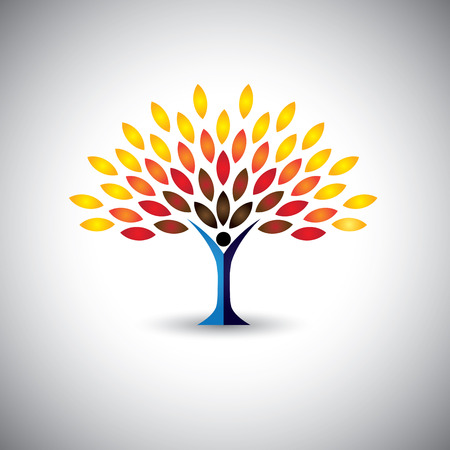 colorful people tree - eco lifestyle concept vector. This graphic also represents harmony, nature conservation, sustainable development, natural balance, development, healthy growth Vettoriali