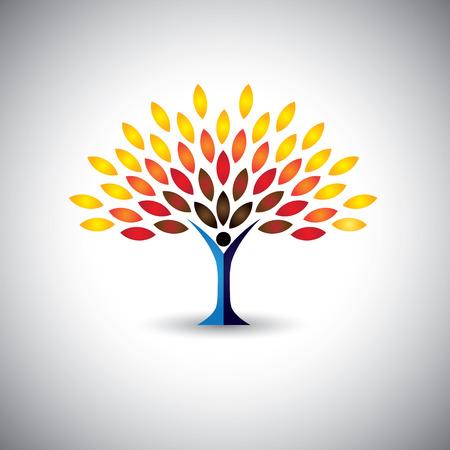 kleurrijke mensen tree - eco lifestyle concept vector. Deze grafische vertegenwoordigt ook harmonie, natuurbehoud, duurzame ontwikkeling, natuurlijke balans, ontwikkeling, gezonde groei
